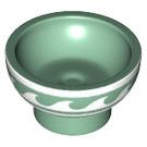 LEGO Sand Green Bowl with White Trim and Waves (34899)