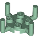 LEGO Sand Green Plate 2 x 2 Round with 4 Vertical Arms (65738)