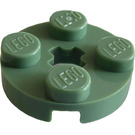 LEGO Sand Green Plate 2 x 2 Round with Axle Hole (with '+' Axle Hole) (4032)