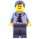 LEGO Scientist with Light Gray Jacket and Striped Tie Minifigure