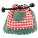LEGO Skirt with Black Rope and Red and White Vichy Pattern and Green Pocket