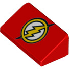 LEGO Slope 1 x 2 (31°) with Flash symbol in yellow  (26087 / 85984)