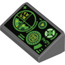 LEGO Slope 1 x 2 (31°) with Green Gauges and Radar Screen on Black Background (34241 / 85984)