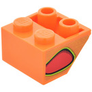 LEGO Slope 2 x 2 (45°) Inverted with Red Flame-Bubble (Right) Sticker (3660)
