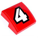 LEGO Slope 2 x 2 Curved with White 4 on Red Sticker (15068)