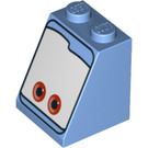 LEGO Slope 2 x 2 x 2 (65°) with Red Eyes on White Background with Stud Holder (3678 / 94873)
