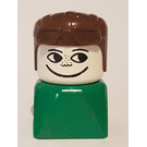 LEGO Smiley Face on Green Base with Brown Hat Duplo Figure