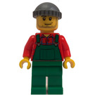 LEGO Snow Plow Driver with Red Shirt, Green Overalls, and Green Legs Minifigure