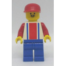 LEGO Soccer Player with Red and Blue Striped Jersey with 9 on the Back, Blue Legs, Pointed Mustache, and Red Cap Minifigure