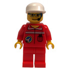 LEGO Spaceport Ground Control Worker with Red Shirt with Shuttle Logo, Red Pants, Glasses, Headset, and White Cap Minifigure