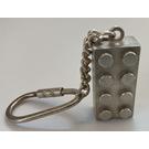 LEGO Sterling Silver Brick 2 x 4  Key Chain