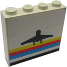 LEGO Stickered Assembly of Three 1x4 Bricks with Airport Logo Sticker on One Side