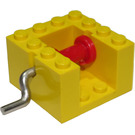 LEGO String Reel Winch 4 x 4 x 2 with Red Drum and Metal Handle