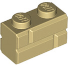 LEGO Tan Brick 1 x 2 with Embossed Bricks (98283)