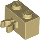 LEGO Tan Brick 1 x 2 with Vertical Clip (Gap in Clip) (30237)