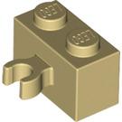 LEGO Tan Brick 1 x 2 with Vertical Clip (thick open 'O' clip) (30237 / 95820)