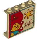 LEGO Tan Panel 1 x 4 x 3 with Sherif and 'JAIL'  with Side Supports, Hollow Studs (67115)