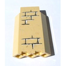 LEGO Tan Panel Wall 3 x 3 x 6 Corner with Sticker from Set 4842 without Bottom Indentations