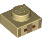 LEGO Tan Plate 1 x 1 with Minecraft Village Mouth and Nose Pattern (17199 / 18967)