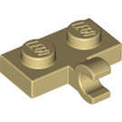 LEGO Tan Plate 1 x 2 with Horizontal Clip (11476 / 65458)