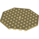 LEGO Tan Plate 10 x 10 Octagonal with Hole and Snapstud (89523)