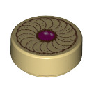 LEGO Tan Round Tile 1 x 1 with Groove with Jam Cookie Decoration (25462)