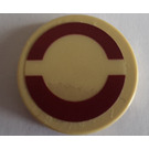"""LEGO Tan Round Tile 2 x 2 with Tan Semicircle Sticker from Set 7964 with """"X"""" Bottom"""
