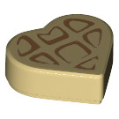 LEGO Tan Tile 1 x 1 Heart with Waffle Pattern (67382)