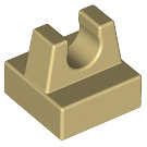 LEGO Tan Tile 1 x 1 with Clip (No Cut in Center) (2555 / 12825)