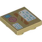 LEGO Tan Tile 2 x 2 Inverted with Decoration (29881)