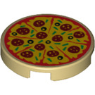LEGO Tan Tile 2 x 2 Round with Pizza with Bottom Stud Holder (29629)