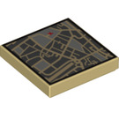 LEGO Tan Tile 2 x 2 Street View Map with Red 'X' Decoration with Groove (13462)