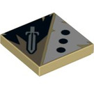 LEGO Tan Tile 2 x 2 with 3 Black Dots and Silver Sword Pattern with Groove (93952)