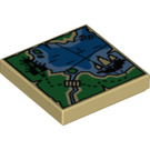 LEGO Tan Tile 2 x 2 with Coastal Map Decoration with Groove (34888)