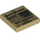"""LEGO Tan Tile 2 x 2 with """"Daily Prophet"""" Decoration with Groove (92770)"""