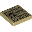 """LEGO Tan Tile 2 x 2 with Daily Prophet """"The boy who LIVED!"""" Decoration with Groove (39616)"""