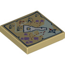 LEGO Tan Tile 2 x 2 with Elves Map and Key Decoration with Groove (20306)