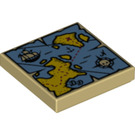 LEGO Tan Tile 2 x 2 with Map Decoration with Groove (19524)
