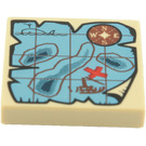 LEGO Tan Tile 2 x 2 with Map with Groove (90816)