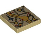 LEGO Tan Tile 2 x 2 with  Marauder's Map Decoration with Groove (92443)
