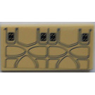 LEGO Tan Tile 2 x 4 with Seat Cushion Sticker