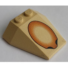 LEGO Tan Wedge 4 x 4 Triple with Brown Oval without Stud Notches