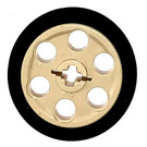 LEGO Tan Wedge Belt Wheel with Tire for Wedge-Belt Wheel/Pulley