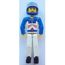 LEGO Technic Figure with White Legs, Red and White Torso, Blue Arms, and Blue Helmet Technic Figure