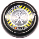 LEGO Throwing Disk with White Arrows and Yellow and Black Danger Stripes Pattern (32171)