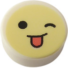 LEGO Tile 1 x 1 Round with Cheeky Wink Emoji (35380)