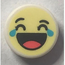 LEGO Tile 1 x 1 Round with Crying with Laughter Emoji (35380)