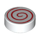 LEGO Tile 1 x 1 Round with Red Swirl (14184 / 98138)