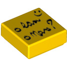 LEGO Tile 1 x 1 with Black Writing (Sticky Note / Post-It) with Groove (25389)