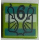 LEGO Tuile 1 x 1 avec number 6 et wrapper design avec Groove (3070)